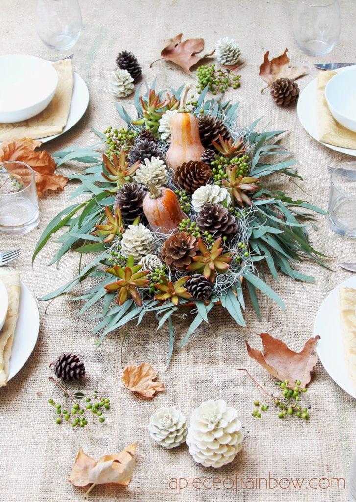 easy DIY centerpiece with foraged natural elements