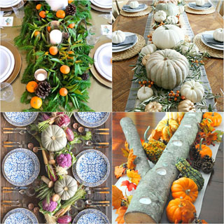 35 best Thanksgiving table decorations & easy DIY centerpiece ideas to create beautiful settings with colorful fall leaves, pumpkins, flowers, pine cones, linens, dinnerware & candles.