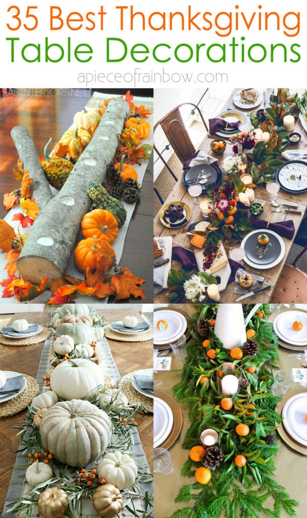 beautiful Thanksgiving table decorations & easy DIY centerpiece ideas with colorful fall leaves, pumpkins, flowers, oranges, & candles.