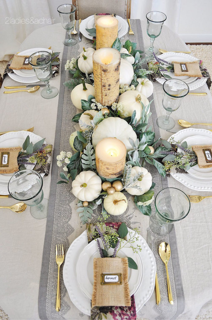 birch pillar candles are so pretty among pastel green and white pumpkins