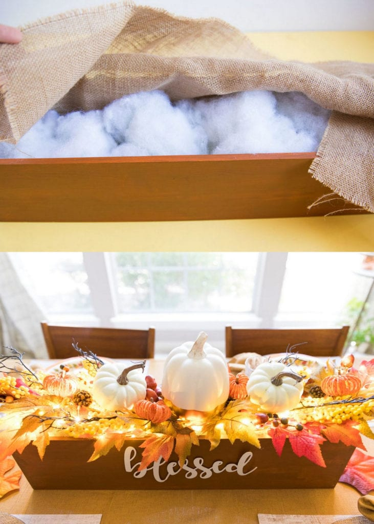 crate Thanksgiving table centerpiece with string lights