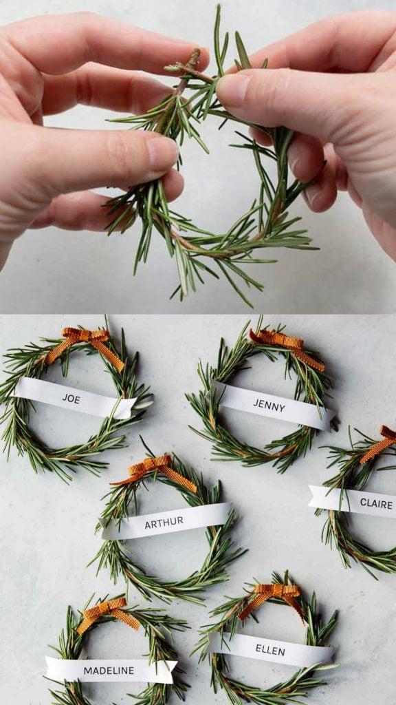 mini Rosemary wreath place cards