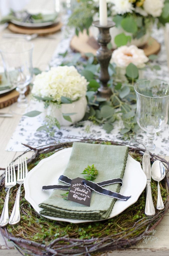 lush green and white Thanksgiving table setting