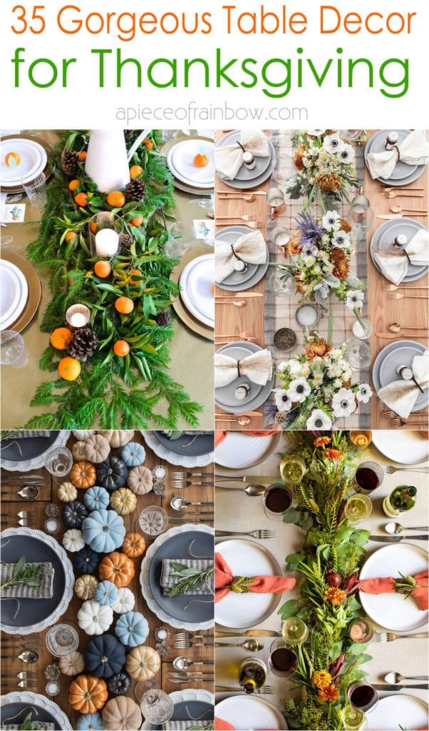 best Thanksgiving table decorations & easy DIY centerpiece ideas to create beautiful settings with colorful fall leaves, pumpkins, flowers, pine cones, linens, dinnerware & candles.