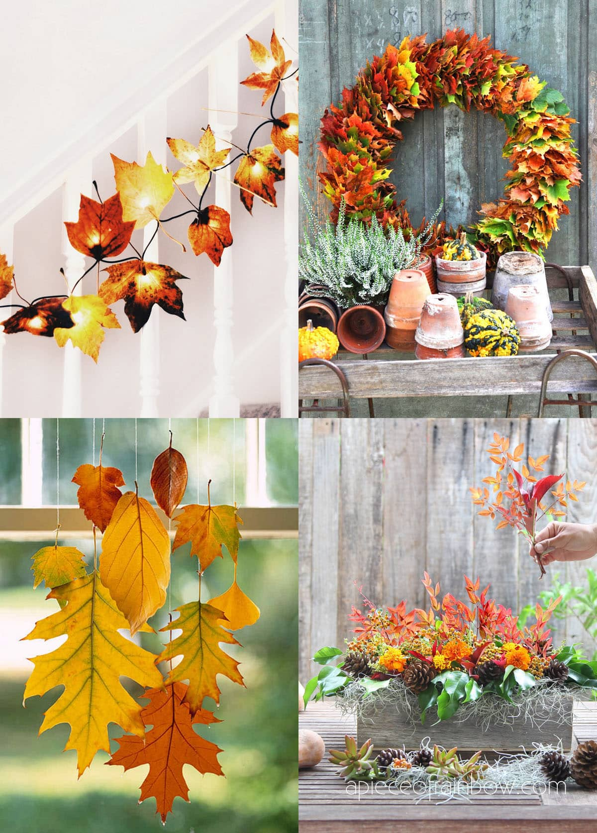 Gorgeous fall leaf crafts & easy DIY decor ideas such as colorful wreath, garland, kids art prints, Thanksgiving table centerpiece, etc